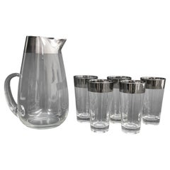 Dorothy Thorpe Mid-Century Silver Cocktail Barware Glasses and Pitcher