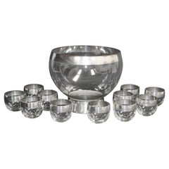 Dorothy Thorpe Mid-Century Silver Band Roly Poly Glasses and Cocktail Punch Bowl