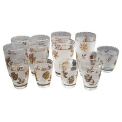 Vintage Midcentury Libbey Set of 13 Frosted and Golden Foliage Cocktail Glasses