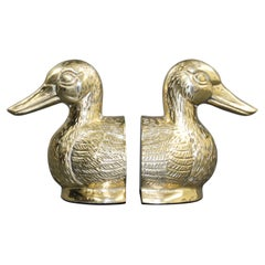 Art Deco Polished Cast Brass Duck Bookends, circa 1940