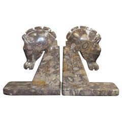 Art Deco Brown Onyx Horses Heads Bookends