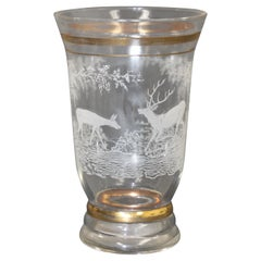Art Deco French Antique Glass Etched Vase, Circa 1930's