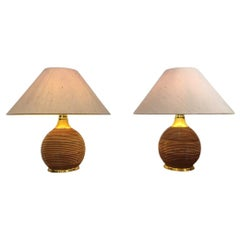 1970s Pair of Bamboo & Brass Table Lamp
