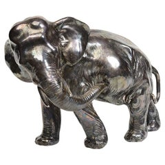 20th Century, Showa, Antique Japanese Metal Elephant with Artist Sign