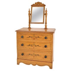 Antique English Painted Chest Of Drawers Dressing Table Scumbled Folk Art