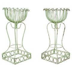 Pair of French Art Nouveau Style Iron Planters Jardinaires