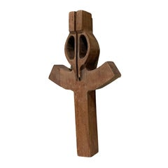 Style of Clara Porset Sculptural Wall Art Modern Cross in Solid Mahogany Wood