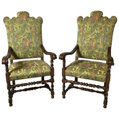 Late 20th Century Decorative Pair of Tapestry Upholstered Armchairs