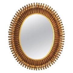 Sunburst Eyelash Large Oval Mirror in Gilt Wrought Iron