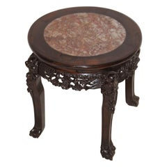 Chinese Qing Dynasty Rosewood Carved Stool with Rose Marble Inlaid Seat