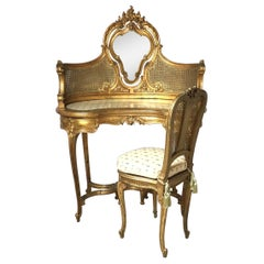 Late 19th Century French Gilt Wood Vanity and Chair