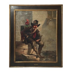 Oil Painting on Canvas, Organ Grinder With Monkey, French 1875, Artist Signed