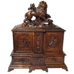 1870's Hand Carved Black Forrest Humidor Cigar Cabinet