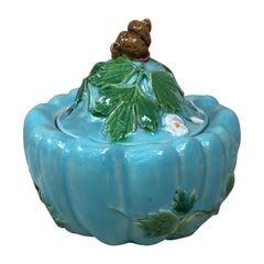 Majolica Aqua Sugar Bowl Minton, Circa 1875