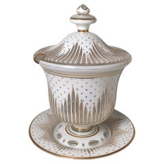 Bohemian Cut to Clear Urn Form Punch Bowl with Underplate