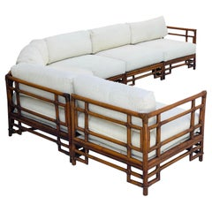 1970s Ficks Reed Chinoiserie Sectional Bamboo Four Piece Sectional