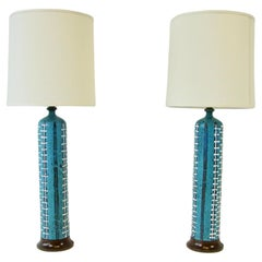 Pair of Tall Gamboni Style Italian Pottery Lamps Blue Base with White Decoration