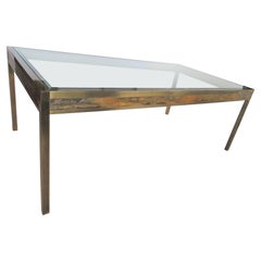 Hollywood Regency Brass/Glass Dining Table by Bernhard Rohne for Mastercraft