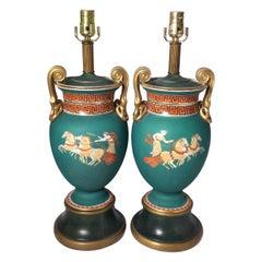 Pair of Mid 19th Century Paris Porcelain Neoclassical Lamps