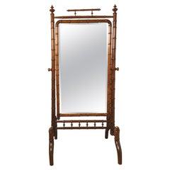 Rare Circa 1890's Late Victorian Chestnut Faux Bamboo Cheval Dressing Mirror