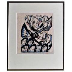 Pencil Signed Woodblock Print by Sadao Watanabe, 1974