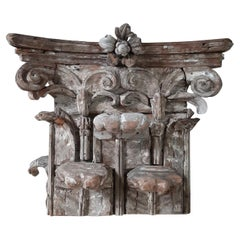 17th Century Large Italian Wood Carved and Gesso Capital