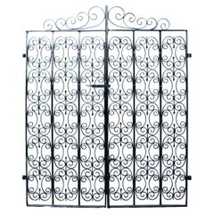 Pair of Wrought Iron Garden Gates with Posts