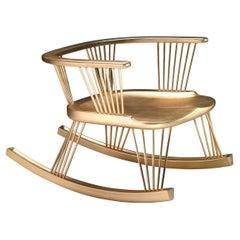 Sitlali Low Solid Wood Golden Leaf Rocking Armchair