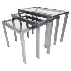 VIntage Modern Metal and Glass Nesting Tables