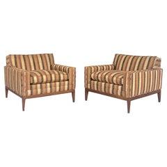 Pair of Raw Silk Mid-Century Modern Lounge Chairs, 1960s