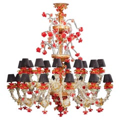 Luxurious Red and Gold Murano Glass Chandelier 1980s