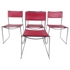 Vintage Modern Red Leather & Chrome Chairs