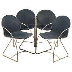 Set of 4 Enameled Indoor / Outdoor Post-Modern Stacking Shell Chairs