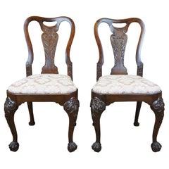 2 18th Century Georgian Mahogany Ball & Claw Dining Side Chairs English Pair