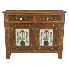 Antique Pennsylvania Dutch American Pine Folk Art Jelly Cabinet Console Cupboard