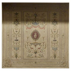Antique Painted and Sculpted Neoclassical Ceiling Panel, Mid-18th Century, Italy