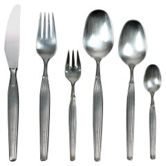 Mid-Century Modern Scandinavian Silver Plated Cutlery Set for 12 People