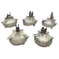 Set of Five Sterling Silver Shell Shaped Ashtrays