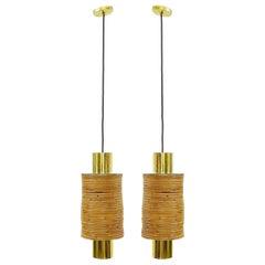 Pair of Modern Italian Brass and Bamboo Pendants