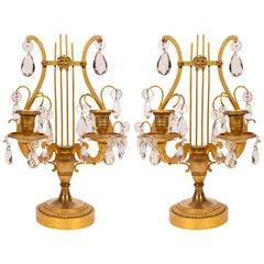 Pair of Lyre Shaped Ormolu and Cut Crystal Two-Light Table Girandoles