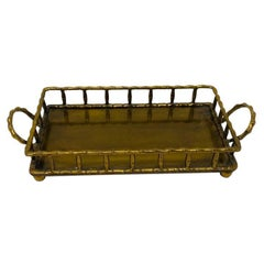 Hollywood Regency Brass Rectangular Faux Bamboo Serving Tray