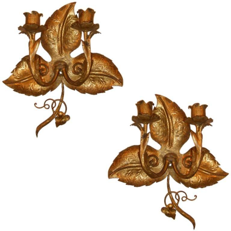Grape Vine Gilt Sconces For Sale at 1stdibs