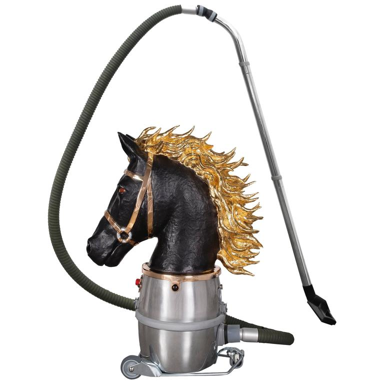 "Studio JobNo. 80 ""Horse Bust 'Chess Piece' 2014"" in Bronze, Gilding, Glass, 2014 1"