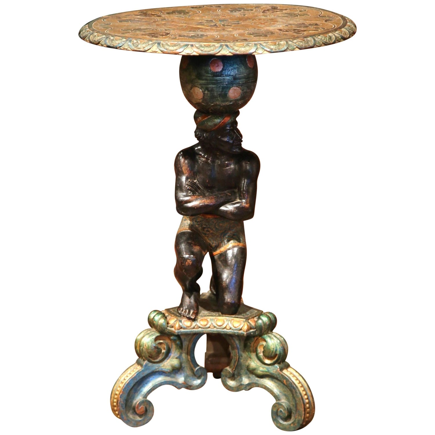 Italian Glazed Terra Cotta Dolphin Table at 1stdibs