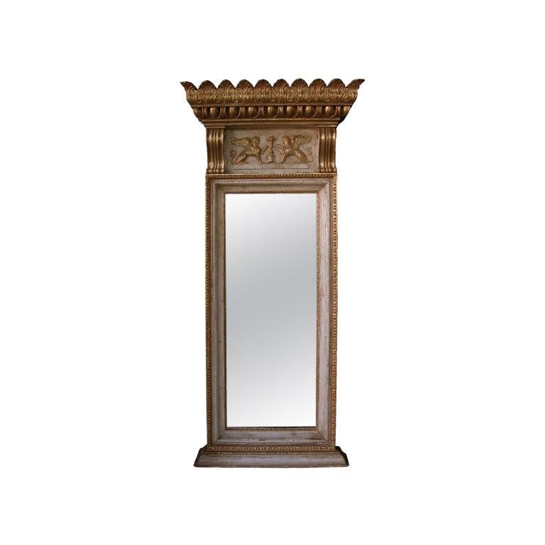 Am Impressive Swedish Empire Revival Ivory Painted & Parcel-Gilt Pier Mirror