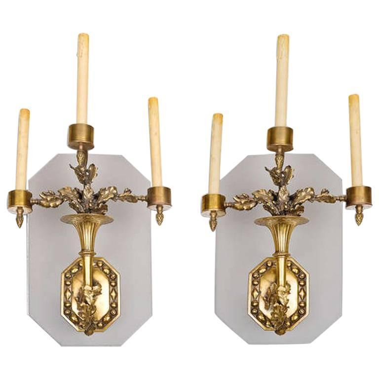 Pair of 19th Century Three-Arm Brass Sconces