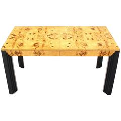 Burl Wood Black Lacquer Legs Writing Table or Desk Two Drawers.