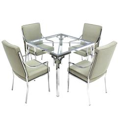 Chrome Glass-Top Game Table with Four Chairs Set