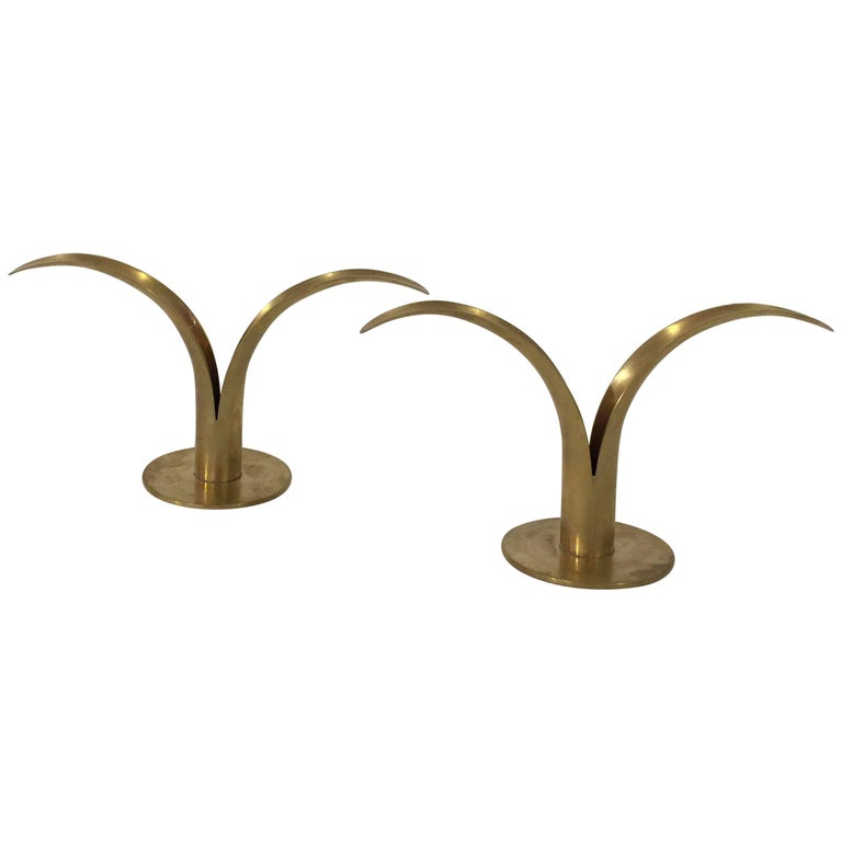 Pair of Brass Candleholders by Ystaad 1