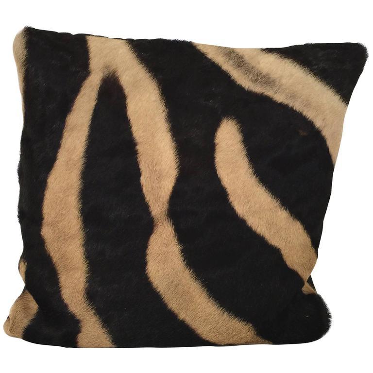 Vintage Zebra Hide Throw Pillow 1